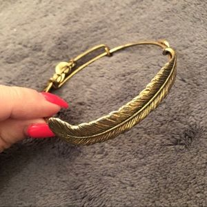 Alex and Ani Quill Feather Bangle- Gold